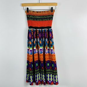 Venus Strapless Tribal Smocked Bandeau Dress